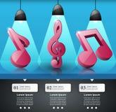 Música infographic Icono de la clave de sol Observe el icono Imagen de archivo libre de regalías