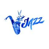 Música jazz, molde do fundo do cartaz Projeto gráfico da aquarela Fotos de Stock