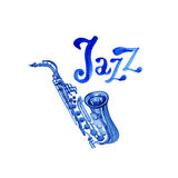Música jazz, molde do fundo do cartaz Projeto gráfico da aquarela Fotos de Stock Royalty Free