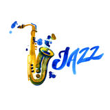 Música jazz, molde do fundo do cartaz Projeto gráfico da aquarela Fotografia de Stock Royalty Free