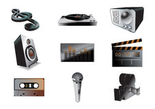 Música/jogo audio do ícone Foto de Stock