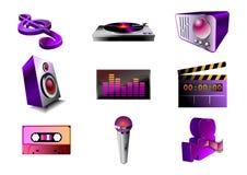Música/jogo audio do ícone Imagem de Stock Royalty Free