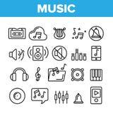 Música, linha fina grupo do vetor audio dos ícones ilustração stock
