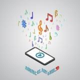 A música móvel do smartphone presta serviços de manutenção ao estilo isométrico Foto de Stock