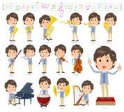 Música men_classic da veste azul do revestimento ilustração stock