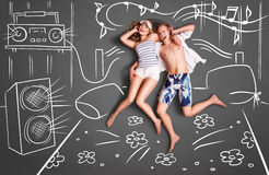 Música na cama ilustração royalty free
