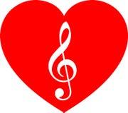 Música no coração vermelho Imagens de Stock