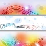 A música nota bandeiras Imagem de Stock Royalty Free