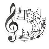 A música nota a clave Imagem de Stock