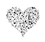 A música nota a forma do coração Fotos de Stock Royalty Free