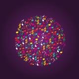 A música nota o círculo Imagens de Stock Royalty Free