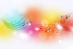 A música nota o fundo multicolorido Fotografia de Stock Royalty Free