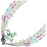 A música nota o fundo, quadro à moda do tema musical, illu do vetor Foto de Stock