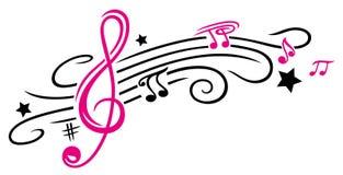 Música, notas y clave ilustración del vector