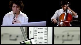 Música para el oboe y el violoncelo, montaje almacen de metraje de vídeo