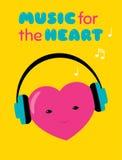Música para a etiqueta do coração Foto de Stock Royalty Free