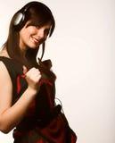 Música que escucha de la mujer Foto de archivo