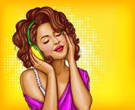 Música que escucha de la mujer en arte pop de los auriculares stock de ilustración