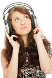 Música que escucha de la mujer hermosa Imagen de archivo