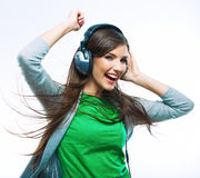 Música que escucha de la mujer joven. Baile de la muchacha del adolescente Fotos de archivo libres de regalías