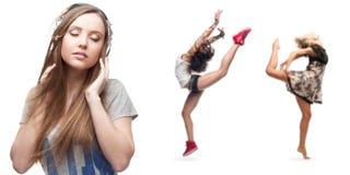 Música que escucha de la mujer joven y dos bailarines en fondo Imagen de archivo libre de regalías