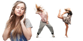 Música que escucha de la mujer joven y dos bailarines en fondo Fotografía de archivo