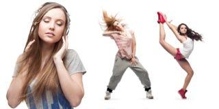Música que escucha de la mujer joven y dos bailarines en fondo Imágenes de archivo libres de regalías