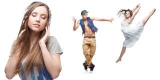 Música que escucha de la mujer joven y dos bailarines en fondo Fotografía de archivo libre de regalías