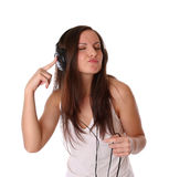 Música que escucha del adolescente en los auriculares Imagenes de archivo