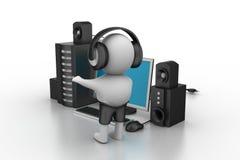 música que escucha del hombre 3D con el sistema de la música Foto de archivo libre de regalías