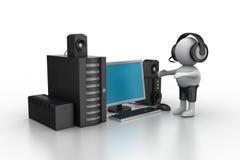 música que escucha del hombre 3D con el sistema de la música Fotografía de archivo libre de regalías