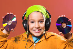 Música que escucha del niño Foto de archivo libre de regalías