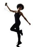 Música que escucha i del adolescente de la muchacha de la mujer del baile feliz joven del bailarín Imagenes de archivo