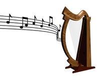 Música que flota la arpa de madera Fotografía de archivo