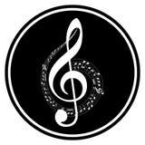 A música simples, circular nota o ícone Projeto preto e branco Isolado no branco ilustração do vetor