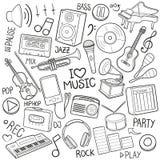 A música utiliza ferramentas do esboço tradicional dos ícones da garatuja do equipamento o vetor feito à mão do projeto Imagem de Stock
