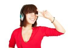 Música y baile que escuchan de la muchacha Fotos de archivo libres de regalías