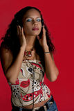 Música y belleza en rojo Fotografía de archivo