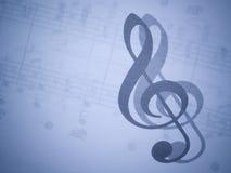 Música y clef agudo Foto de archivo libre de regalías