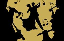 Música y danza stock de ilustración