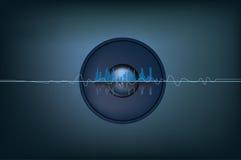 Música y soundwaves ilustración del vector