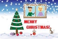 Músicas de natal do canto pela seda da janela ilustração royalty free