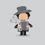 Músico Accordion Man Ilustración del Vector