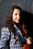 Músico bonito do violino Imagens de Stock