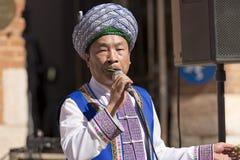 Músico chinês com folhas - Verona Tocati imagem de stock