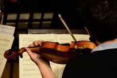 Músico clásico que toca el violín y que lee notas de la música Imagen de archivo libre de regalías