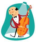 Músico com baixo ilustração do vetor