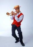 Músico con la trompeta Fotografía de archivo libre de regalías