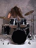 Músico con su sistema del tambor Imagen de archivo libre de regalías