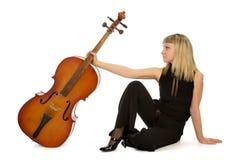 Músico da mulher com violoncelo Fotografia de Stock